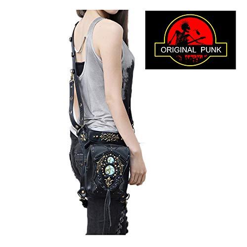 MYLL Mujeres Hombres Cuero Steampunk Bolso De Bolsillo Crossbody Vintage PU Clásico Gótico Cintura/Paquetes De Hombro/Pierna Bag,Black