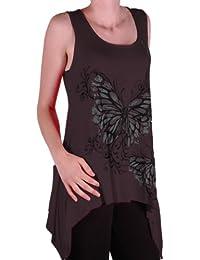 Eyecatch - Kayla Schmetterlings-Damen Sleeveless lange Stretch Vest Top Damen Plus Größe