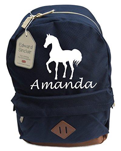 Cavallo design personalizzato con nome Patrimonio zaino (Go aggiungere regalo OPTIONS.... Enter nome in scatola regalo.... e salvare Messaggio) Blu