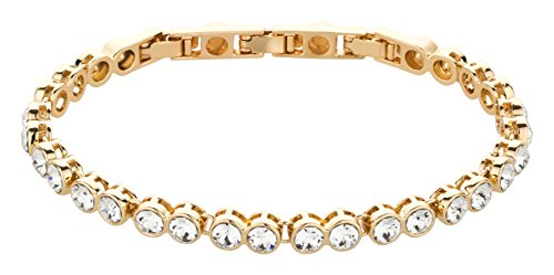 Original Elli Olsen ® Swarovski Elements Armband XS - XXL gold | Armkette Schmuck Armband Damen Armkettchen Tennisarmband Armschmuck Tennis Bracelet Glitzerarmband Hochzeitsschmuck (vergoldet)