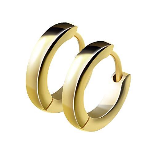 en Edelstahl Damen Herren Klapp-Verschluss Schmale Ohrringe Huggie Kreolen Stecker Ohrstecker zum Klappen rund 2,5mm breit Gold ()