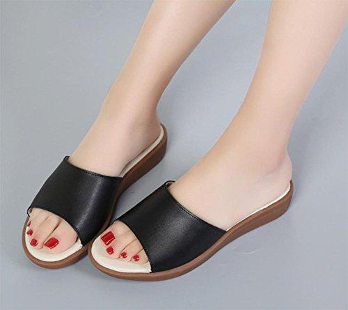 Word-Sommer-Open-toed Pantoffeln beiläufige flache Sandalen und Pantoffeln Frauen Black