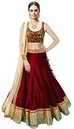 Market Magic World Woman's and Girl's Maroon Banglori Silk Semi stitched Free Size Lehengha Choli (Ghaghra Choli, Chaniya Choli)