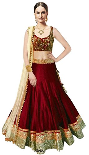 Market Magic World Woman\'s and Girl\'s Maroon Banglori Silk Semi stitched Free Size Lehengha Choli (Ghaghra Choli, Chaniya Choli)