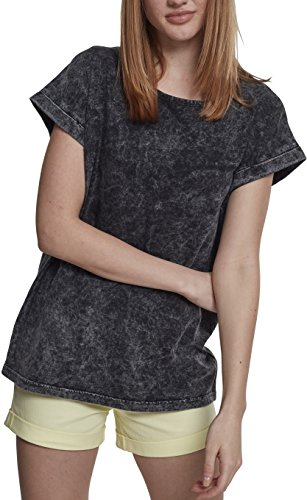 Urban Classics Damen T-Shirt Ladies Random Wash Extended Shoulder Tee, Schwarz (Black 00007), Large (Herstellergröße: L) (Wash Schwarzes T-shirt)
