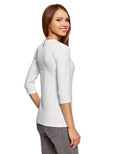oodji Ultra Damen Bluse mit 3/4-Arm und Reißverschluss Am Rücken Weiß (1200N)