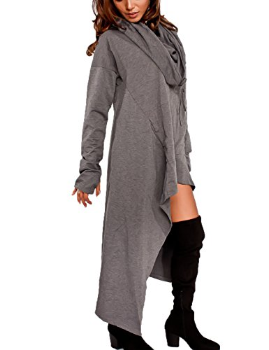 Gap Herren Grün (Junshan Kapuzenpullover Pullover Damen Lang Strick Oversize Langarm Pullikleid Longshirt Top 36-48 10 Farbe 7 Größe (dunkelgrau, 40))
