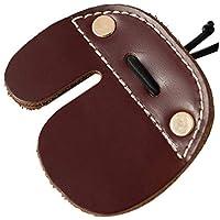 Efanr 2Pack Protector de dedos de caza tiro con arco dedo Tab para lazos arco hecho a mano doble de grosor de piel de vaca auténtica piel marrón