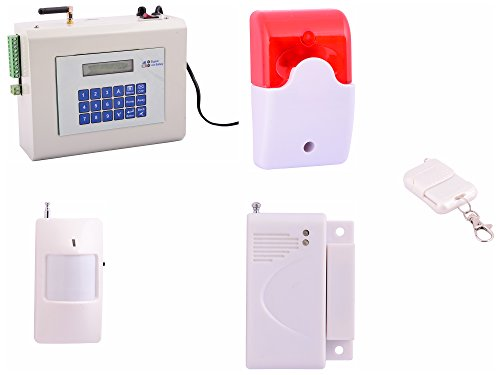 Spriha Wireless GSM Burglar Alarm Smart Security System with Motion Sensors (Off-White)