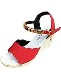 2018 Verano Mujeres Sandalias y Chanclas, WINWINTOM Suave Zapatillas de Estar por Casa, Mujer Pez Boca Rhinestone Plataforma Tacones Altos Sandalias Hebilla Slope Sandalias