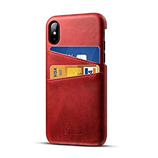 Airart iPhone X iPhone XS Leather Case with Cards Holder, Premium Vintage Wallet Case, Ultra Slim Professional Executive Snap On Back Cover Compatible iPhone X/XS - Red