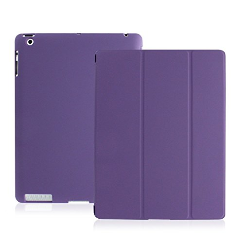 Khomo® smart cover dual case viola ultra sottile e leggera con supporto per apple ipad 2 / ipad 3 / ipad 4