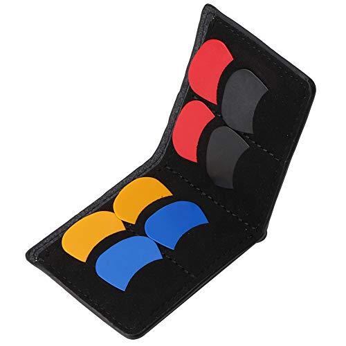 Drfeify Plektrum-Halter für Gitarren, Tragbarer Plektrum-Koffer Tasche Plektrum-Halter mit Plektrum-Zubehör(Schwarz)