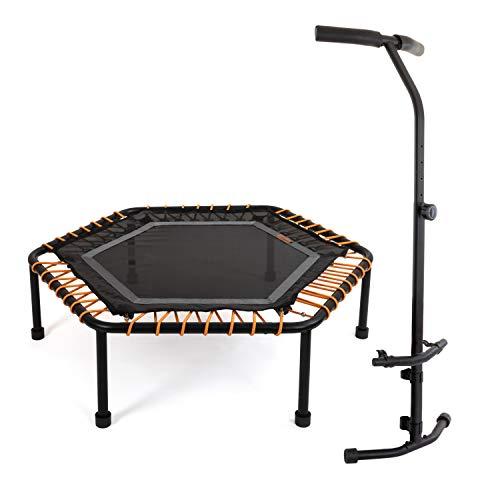 Ampel 24 Minitrampolin Hexagon mit höhenverstellbarer Haltestange, Fitness Trampolin mit Bungee-Seil-System, 6 verstellbare Elastobänder für den Härtegrad, belastbar bis 150 kg