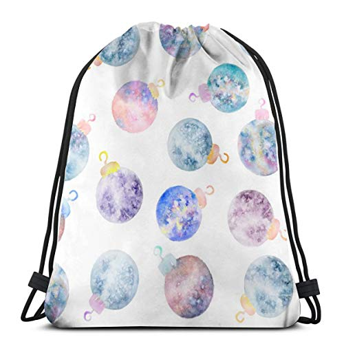 Watercolor Holiday Galaxy Ornament Drawstring Shoulder Bags Gym Bag Travel Backpack Lightweight Gym for Men Women 16.9