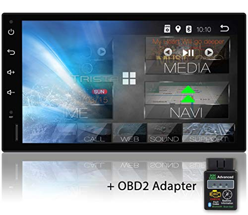 Tristan Auron BT2D7018A Autoradio mit Navi + OBD 2 Adapter, 7\'\' Touchscreen Bildschirm, Android 9.0, GPS Navi, Bluetooth Freisprecheinrichtung, Quad Core, MirrorLink, USB/SD, OBD 2, DAB+, 2 DIN