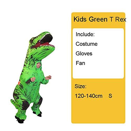 Kostüm Frauen Dinosaurier - GAOXUQIANG Erwachsene Kinder Aufblasbare Dinosaurier Kostüm T REX Frauen Männer Kostüme Dinosaurier Halloween Party Kostüm Anzug Karneval Cosplay,Kidslightgreen