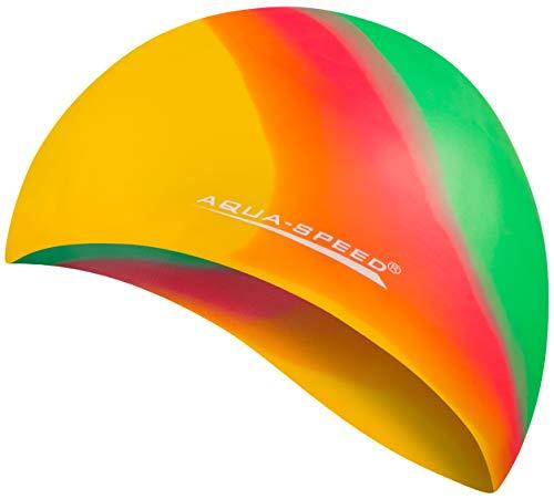 Aqua Speed Badekappe Herren | Bademütze | Badehaube | Mehrfarbig gelb rot grün + Aufbewahrungstasche -