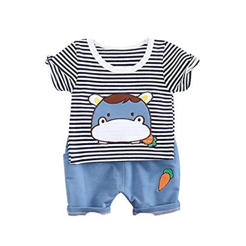 e Baby Kinder Jungen Cartoon Kuh Tops T-Shirt Kurze Hosen Casual Outfits Set ()