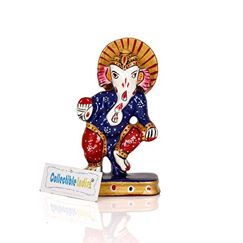 Collectible India Small Dancing Ganesha Metal Statue | Lord Ganesh Handmade Colorful Figure | Ganesha Idol Sculpture For Home Decor / Car Dashboard / Gift  available at amazon for Rs.299