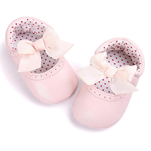 Chaussures Bébé,Fulltime® Baby Girl bowknot Chaussures en cuir Sneaker anti-dérapant souple Sole Toddler Rose