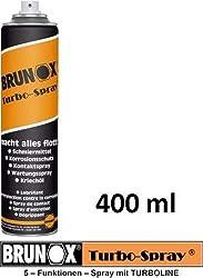 Brunox Turbo-Spray - Schmiermittel, Rostlöser, Kriechöl, Reinigungsmittel, Kontaktspray, Korrosionsschutzmittel - 400 ml