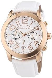 Reloj Michael Kors MK2289 de cuarzo para mujer, correa de cuero color blanco de Michael Kors