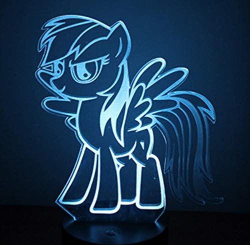 Cartoon Rainbow Dash 3D Lampe 7 Farben Ändern Touch-Tabelle Kleines Nachtlicht Acryl Usb Kabel Licht Basis Lampe Kinder Kreative Geschenk Touch-Schalter 7 Farbwechsel (Rainbow Dash Licht)