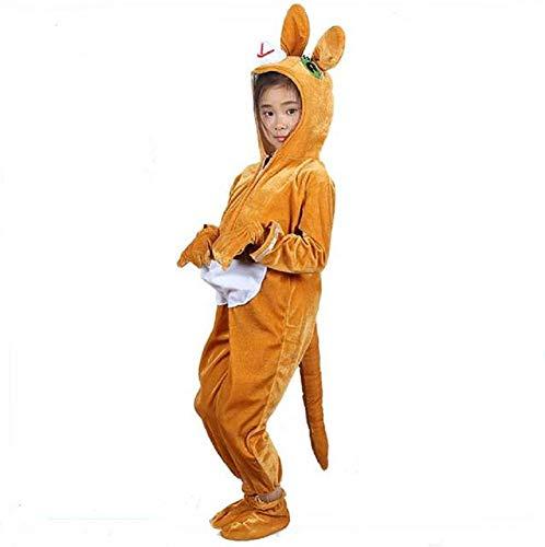 Kinder Tier Kostüme mit Kapuze Kostüm Party Unisex Outfit Pyjamas Cosplay (Känguru, XL (Für Kinder von 135-150 cm))