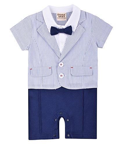 ZOEREA Baby Jungen Strampler Gentleman kurzen Ärmeln Sommerkleidung Streifen Hellblau Baumwolle für Tauf Hochzeit Party