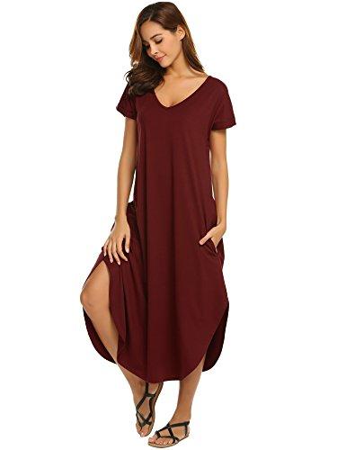 ADOME Damen Nachthemd Kurzarm V-Ausschnitt Sleepshirt Nachthemd High Low Unregelmäßige Baumwolle Lange Nachtwäsche Schlafanzug Kleid mit Taschen (Damen Baumwolle Tasche)