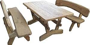 JUNIT Sitzgarnitur SG-RL aus Eiche massiv 1 Tisch +2 Bänke mit Lehnen