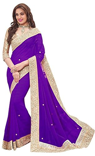 Onlinehub Women's Geogette Material Sarees With 1 Blouse Piece(Black Patta With Hand...