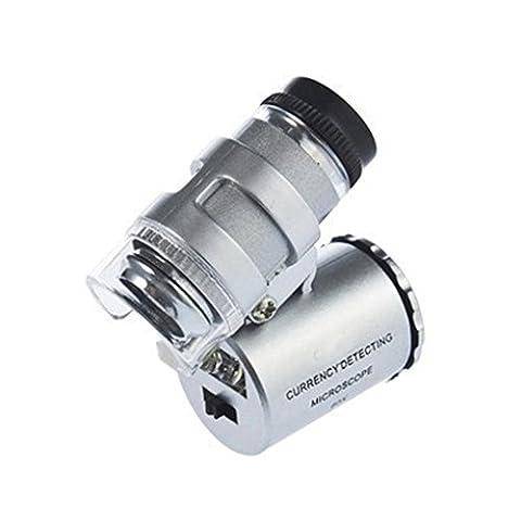 LY Neu Handlupe 60 Fach mini Mikroskop Vergrößerung Vergrößerungsglas Lupe mit Led Beleuchtung UV Licht