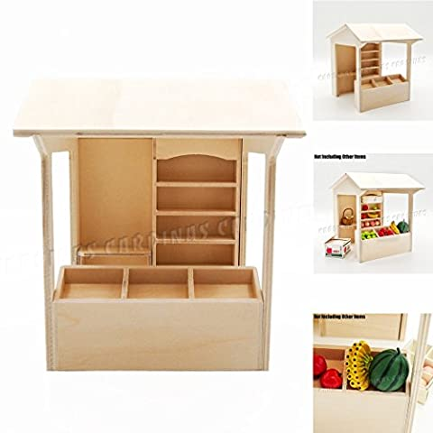 Odoria 1:12 Miniature DIY Grocery Store with Display Counter and Canopy Self-assembly Dollhouse Furniture