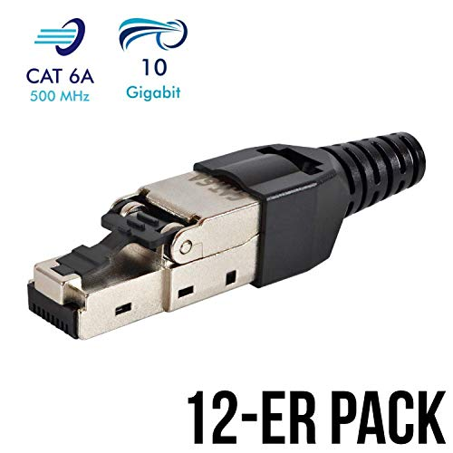 VESVITO 12er Pack Netzwerkstecker feldkonfektionierbar RJ45 CAT 6A geschirmt 10 GBit/s Ethernet werkzeuglos LAN Kabel CAT 7 Crimpstecker Steckverbinder Stecker Patchkabel Netzwerkkabel Verlegekabel -