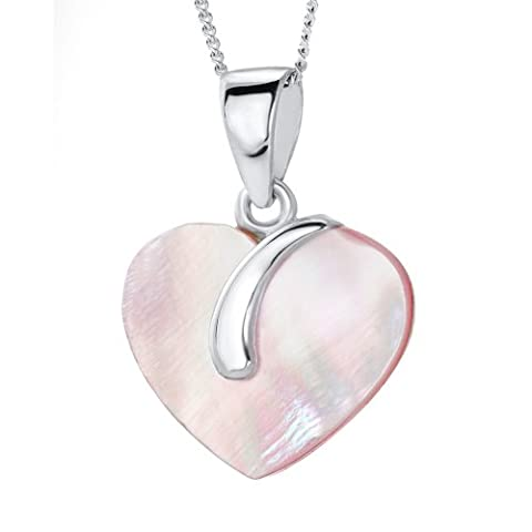 Ornami Stering Silver Mother of Pearl Silver Swirl motif Pendant on 46cm chain