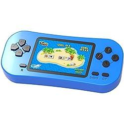 ZHISHAN Console de Jeu Portable pour Enfants Jeu Rétro Classique 218 8 Bits Intégré Système de Jeu Vidéo D'arcade Rechargeable avec écran de 2,5 Pouces Cadeau d'anniversaire de Noël (Bleu)