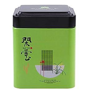 Gogogo BoîTe à Café, Carré Boîtes de Rangement thé en Fer,Sceller et étanche, Peinture écologique, sans goût,7 * 7 * 8.7 cm - Vert