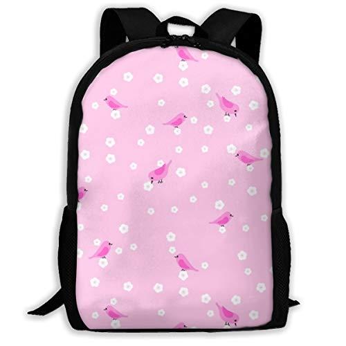 Bluebirds and Blossoms - Pink_1375 Klassischer Rucksack Reisen Laptop Rucksack, College School Student Rucksack für Männer und Frauen