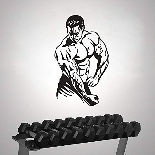 Sport Bodybuilding Wandaufkleber Fitness Club Dekoration Bodybuilding Sport Männer Dekoration Vinyl Kunst Design Poster H601 weiß 42X69 CM -