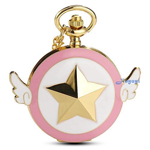 Cartoon Magic Sakura Taschenuhr Frauen Mädchen Star Flügel Quarz Schlüsselanhänger Uhren mit langer Kette für Fans Sakura Magic