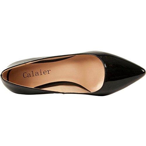 Calaier Damen Cahalfway 5.5CM Stiletto Schlüpfen Pumps Schuhe Schwarz B