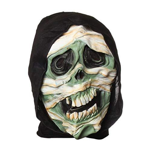 WZYWSJ Halloween Maske Latex Realistisch Beängstigend Schrecklichen Kopf Kostüm Maskerade Dress Up Dekoration (Beängstigend Realistische Kostüm)