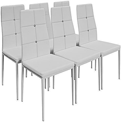 Deuba 6X Esszimmerstühle Stuhl Hochlehner Polsterstuhl Sitzgruppe Essgruppe Esszimmerstuhl weiß