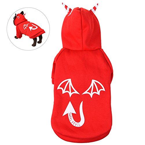 g, PET Halloween-Kostüm Charming Hund Bekleidung Haustier Luminous Outfit mit Teufel Stil, geeignet für Dekorieren Hunde, rot, L (Einfach Hund Kostüme Für Halloween)