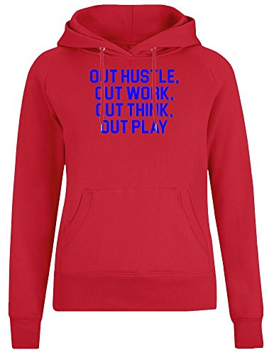 Out Hustle, Out Work, Out Think, Out Play Jacket with Hoodie for Women - 100% Soft Cotton - High Quality DTG Printing - Custom Printed Womens Clothing