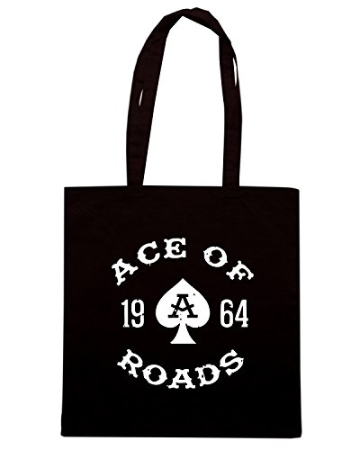 T-Shirtshock - Borsa Shopping TB0326 monochrome vintage biker label badge ace of roads for hipster Nero