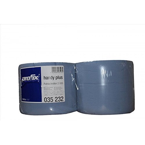 Preisvergleich Produktbild 2 x Putztuchrolle 2 lagig blau 22 cm x 38 cm je 500 Blatt Werkstattrolle Putzpapier Putztuch Putzrolle sehr weich saugfähig und stark