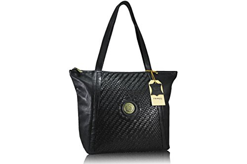 11a0471601 FERETI sac a main cuir tresse bandoulière en cuir noir sac à main épaule